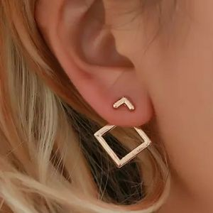 Gold tone Square Jacket Stud Earrings ear ring